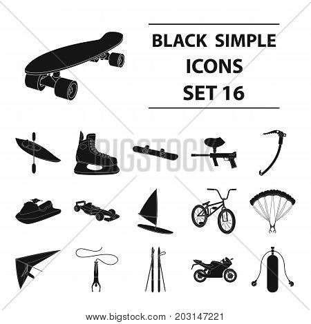 Motorcycle racing, downhill skiing, jumping, parachuting and other sports. Extreme sports set collection icons in black style vector symbol stock illustration .