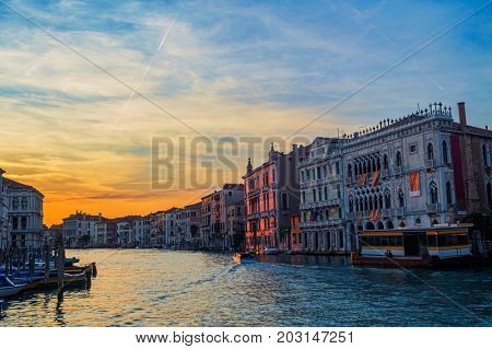 Grand canal evening dusk scenery, Venice, Italy. Venetian travel background.