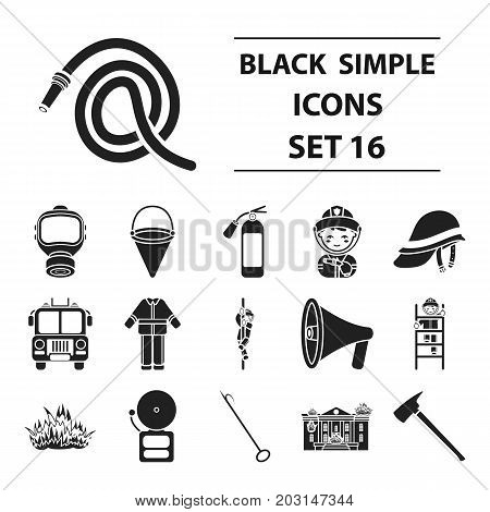 Fire department set icons in black style. Big collection fire department vector symbol stock