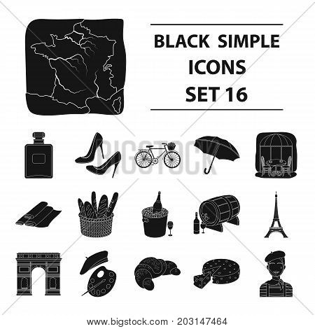 France country set icons in black design. Big collection of France country vector symbol stock illustration