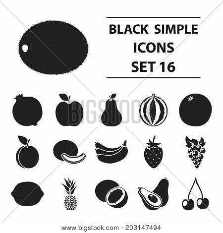 Fruits set icons in black style. Big collection fruits vector symbol stock