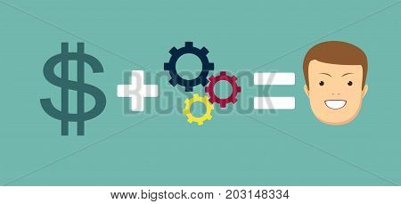 Money and good ideas make you happy. Stock vector illustration for poster, greeting card, website, ad, business presentation, advertisement design.