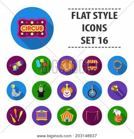 Circus set icons in flat style. Big collection circus vector symbol stock