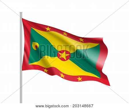Waving flag of Grenada. Illustration of North America country flag on flagpole. 3d vector icon isolated on white background