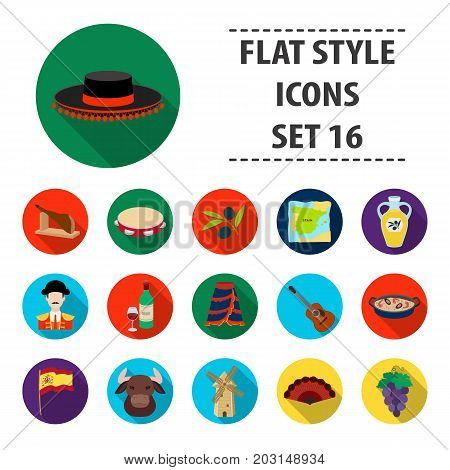 Spain country set icons in flat design. Big collection of Spain country vector symbol stock illustration