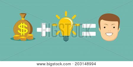 Money plus idea equal to happiness. Stock vector illustration for poster, greeting card, website, ad, business presentation, advertisement design.