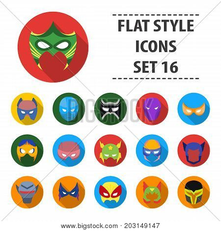 Superhero mask set icons in flat style. Big collection of superhero mask vector symbol stock