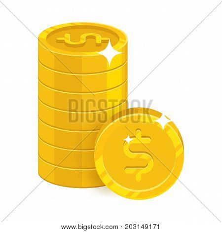 Piles gold dollars isolated cartoon icon. Three heaps of gold dollars and dollar signs for designers and illustrators. Gold stacks of pieces in the form of a vector illustration