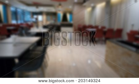 Table And Chair In Cafe Coffee Shop.  Food Cout, Cafeteria, Restaurant Interior. Blur For Background
