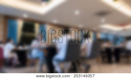 People Eat Food In Cafeteria. Table And Chair In Cafe Coffee Shop.  Food Cout, Modern Restaurant Int