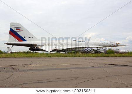 Zhukovsky, Moscow Region, Russia - August 21, 2015: Tupolev Tu-144LL RA-77114 of Tupolev Design Bureau standing Zhukovsky during MAKS-2015 airshow.
