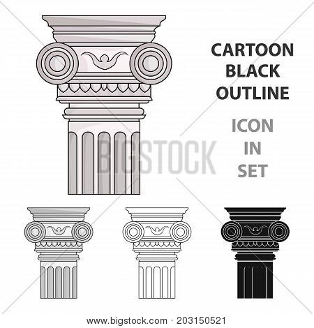 Column icon in cartoon design isolated on white background. Architect symbol stock vector illustration.