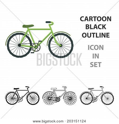 Green bicycle icon in outline design isolated on white background. Bio and ecology symbol stock vector illustration.