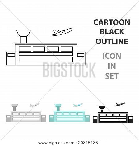 Airport icon cartoon. Single building icon from the big city infrastructure cartoon stock vector