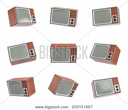 3d rendering of a turned-off retro TV in different angle on white background. TV shows. Old-school appliances. Retro interior.