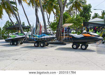 Jet ski on the beach at Maafushi islandMaldives