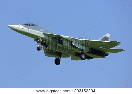 Zhukovsky, Moscow Region, Russia - July 12, 2014: T-50 055 BLUE jet fighter landing at Zhukovsky aifield.