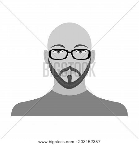 The face of a bald man with glasses, with a beard and mustache. The face of a man single icon in monochrome style vector symbol stock illustration .