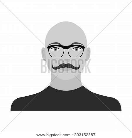 The face of a bald man with a mustache in glasses. Face and appearance single icon in monochrome style vector symbol stock illustration .