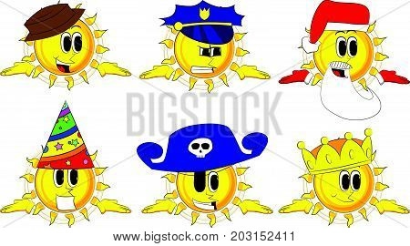 Cartoon sun shrugs shoulders expressing don't know gesture. Collection with costume. Expressions vector set.