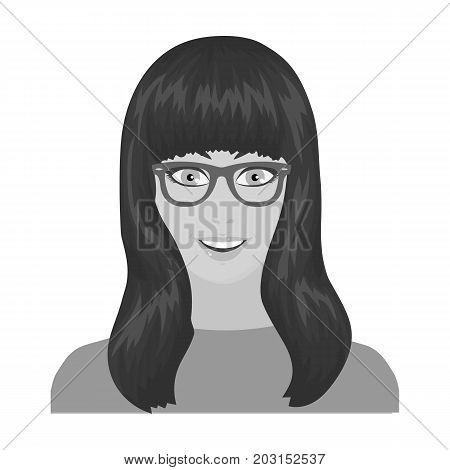 The girl's face is wearing glasses. Face and appearance single icon in monochrome style vector symbol stock illustration .