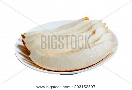 Slices of ripe melon on white plate isolated on white background