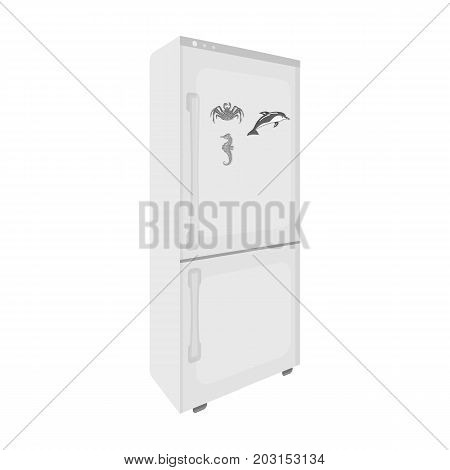Refrigerator, single icon in monochrome style.Refrigerator vector symbol stock illustration .
