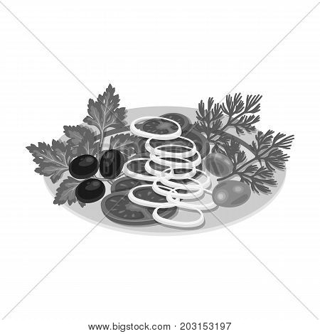 Vegetable salad. Food and cooking single icon in monochrome style vector symbol stock illustration .