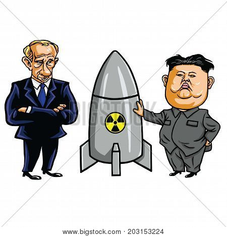 Kim Jong-un and Nuclear Weapon with Vladimir Putin. Vector Cartoon Illustration. September 7, 2017