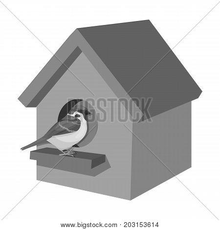 Birdhouse, single icon in monochrome style.Birdhouse, vector symbol stock illustration .