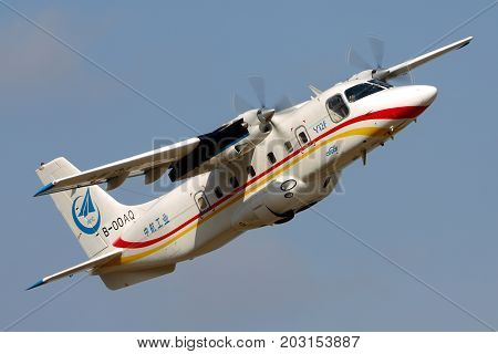 Zhukovsky, Moscow Region, Russia - August 28, 2015: Harbin Y-12F B-00AQ perfoming demonstration flight in Zhukovsky during MAKS-2015 airshow.