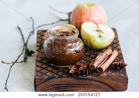 Ingredients For Traditional Apple Pie- Salted Caramel, Slices Of Apple In Caramel Sauce, Cinnamon St