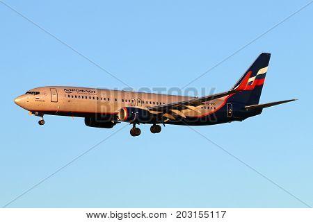 Sheremetyevo, Moscow Region, Russia - December 28, 2015: Aeroflot Boeing 737-800 VQ-BVO landing at Sheremetyevo international airport.