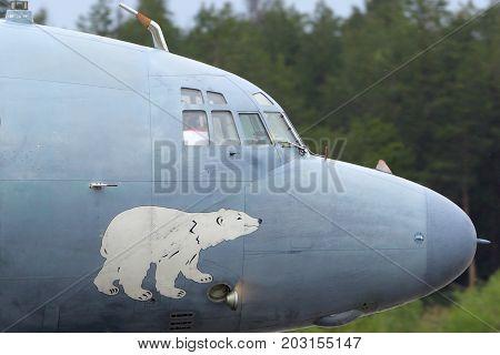 Kubinka, Moscow Region, Russia - May 18, 2015: Ilyushin IL-38 09 RED of Russian Navy at Kubinka air force base.