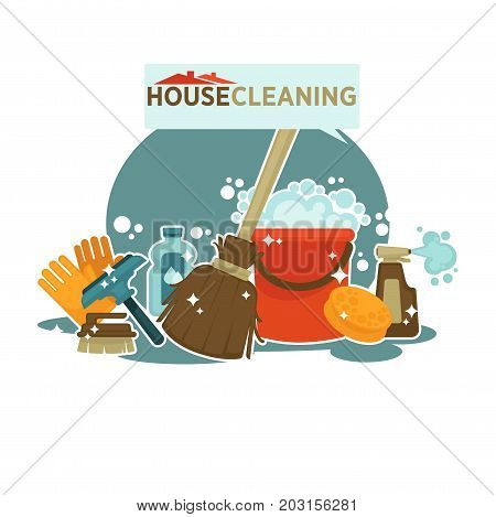 House cleaning service promotional emblem isolated cartoon vector illustration on white background. Brush for windows, rubber gloves, wooden broom, plastic bucket, yellow sponge and bottle with spray.