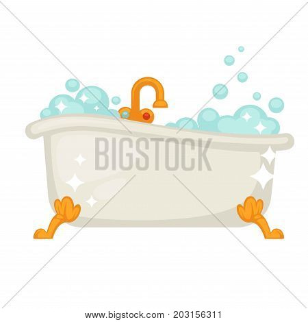 Shiny ceramic bath with golden legs and tap full of glossy bubbles isolated cartoon flat vector illustration on white background. Bathroom furniture with water and foam to maintain cleanliness.