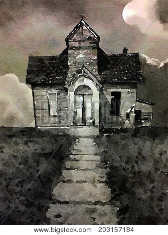 Very Nice small scale watercolor painting of a Praire Church