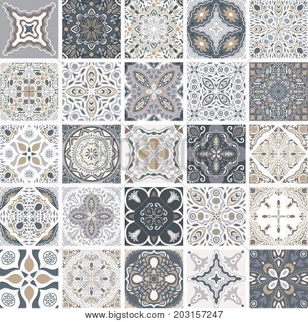 Traditional ornate portuguese decorative tiles azulejos. Abstract background. Vector hand drawn illustration, typical portuguese tiles, Ceramic tiles. Set of mandalas.
