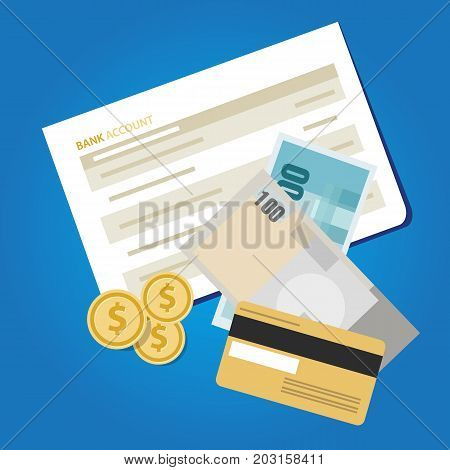 bank account book statement paper money finance savings invest cash vector object