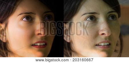Face of a beautiful Caucasian young brunette woman before and after retouch