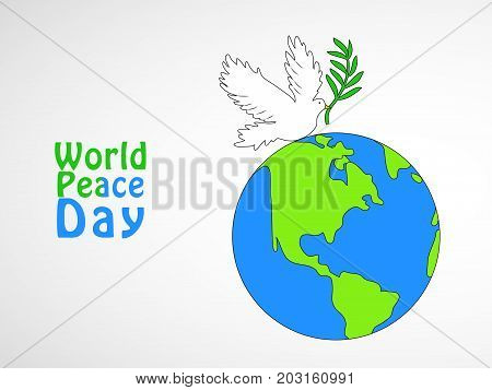 illustration of Pigeon and Earth with World Peace Day text on the occasion of World Peace Day