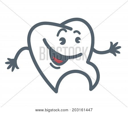 Tooth with cheerful face, round eyes, open mouth, arched eyebrows and thin hands isolated cartoon flat outline vector illustration on white background. Funny fictional character minimalistic sketch.