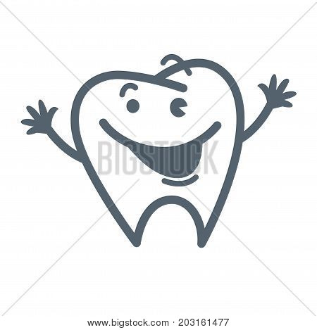 Tooth with friendly facial expression, open mouth, small eyes, arched eyebrows and raised thin hands isolated cartoon flat vector illustration on white background. Adorable character outline sketch.