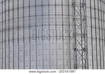 Modern silo for storing grain harvest. Agricultural Silo. Background