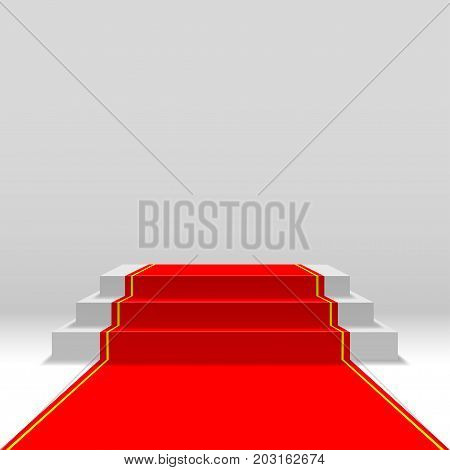 Podium with red carpet for award ceremony