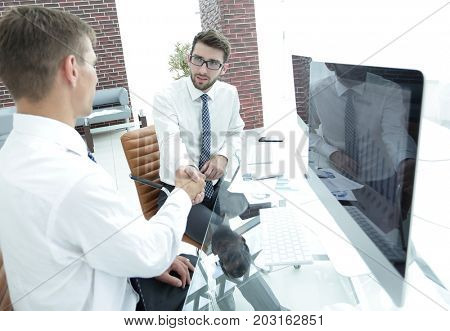 handshake of a businessman and accountant