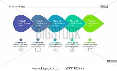 Five phase process chart slide template. Element of plan, strategy, chart. Concept for presentation, templates, annual report. Can be used for topics like business, communication, technology