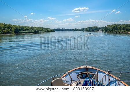 Picturesque view of the city of Rostov-on-Don from small yacht on Don river