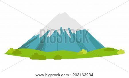 Snow-covered mountain with green meadow at foot. Fuji Mount flat vector isolated on white. Japanese nature national symbol illustration for concepts add logos. Dormant volcano with snowy peak icon
