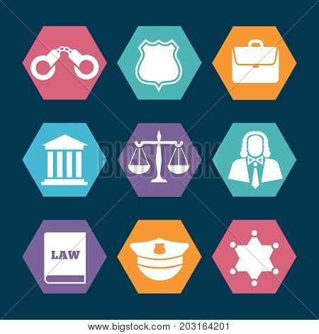Law, justice and police icons set. Handcuffs and officer sheriff star, vector illustration